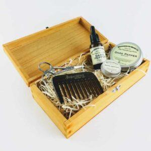 bedfordshire beard gift dark pepper beard set. beard care gift set in presentation box, natural beard care kit