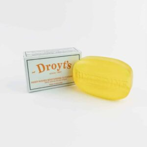 droyt's original eau de cologne glycerine soap next to droyt's box