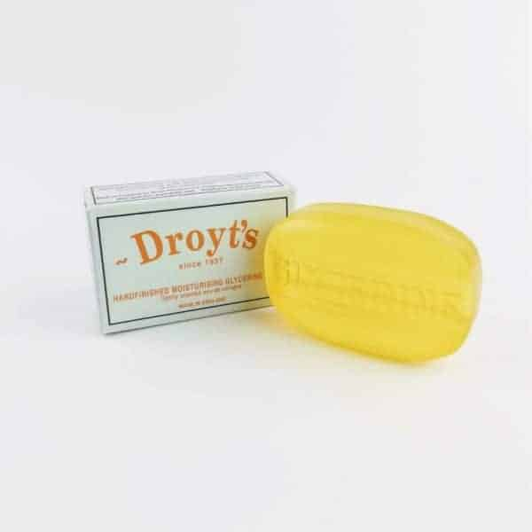 droyt's original eau de cologne glycerine soap next to droyt's box