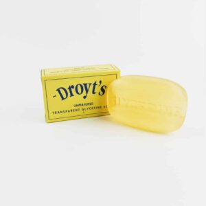 droyt's Original Unperfumed Glycerine Soap next to box