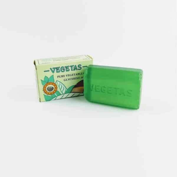 green vegetas glycerine soap next to box