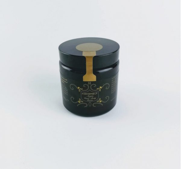 kokomelt Argan Hand and Body Butter in brown glass bottle
