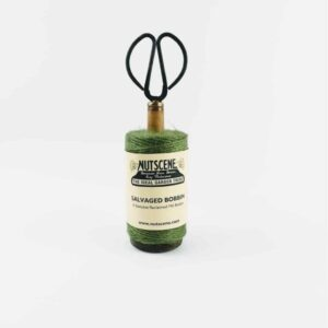 Green Recycled Mill Bobbin with Twine and Scissors