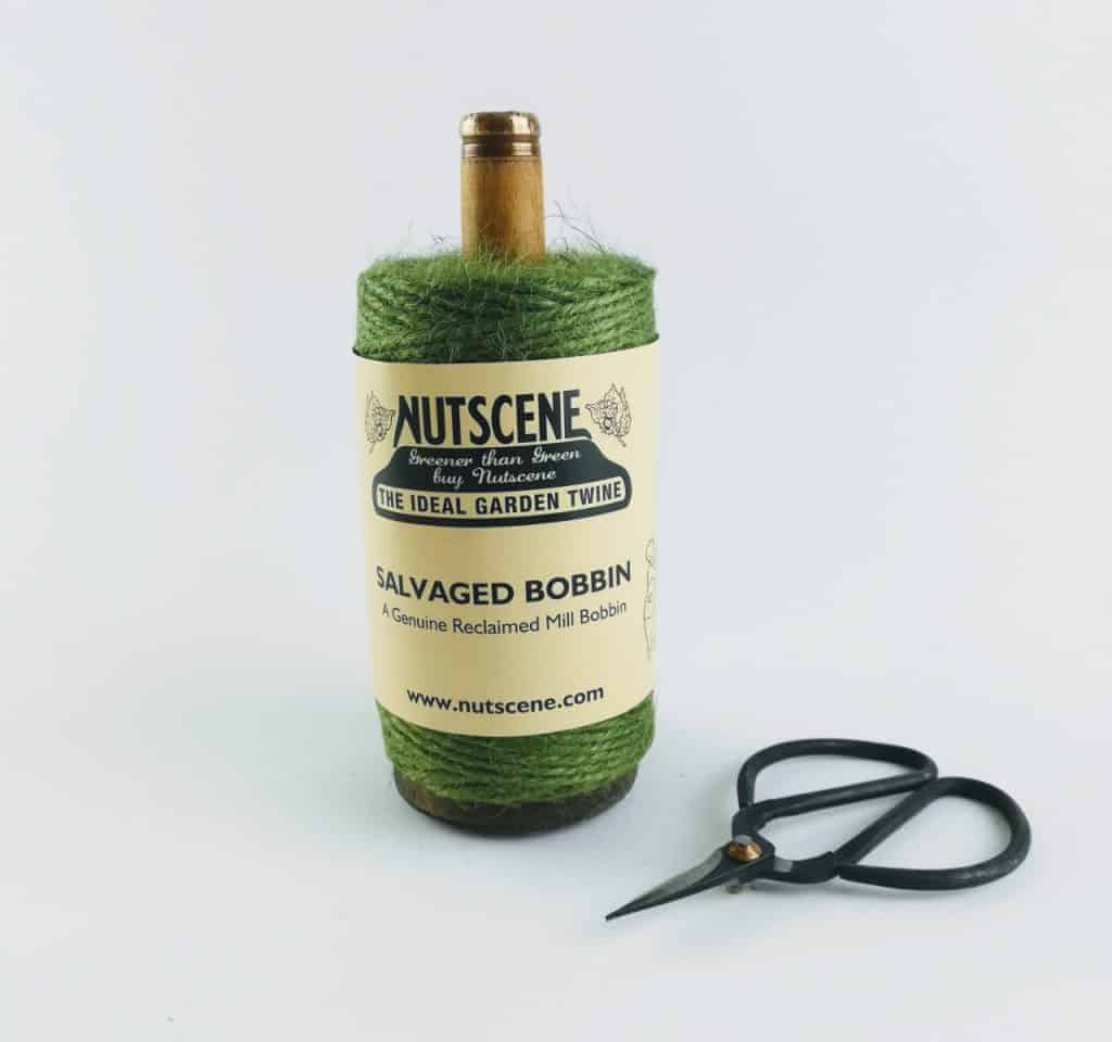 nutscene recycled mill bobbin with twine and scissors green 3 - British made luxury handcrafted unique gifts for her