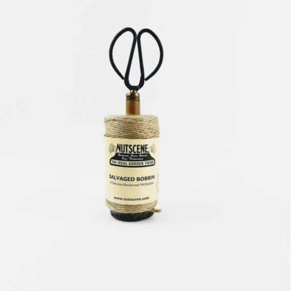 nutscene Recycled Mill Bobbin with Twine and Scissors Natural