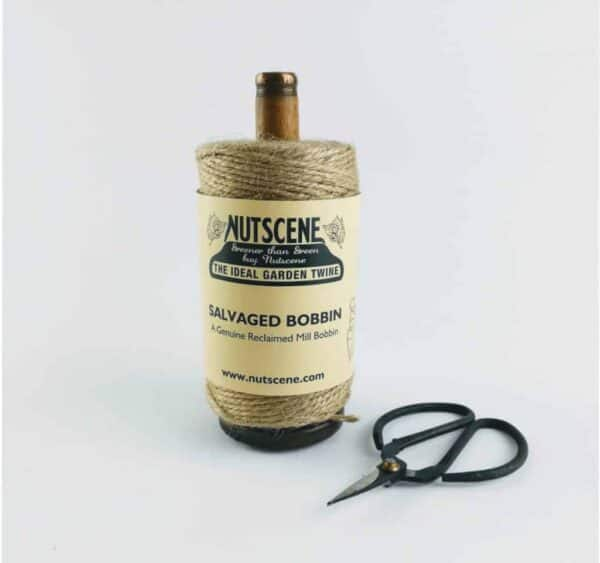 nutscene recycled mill bobbin with twine and scissors natural 2