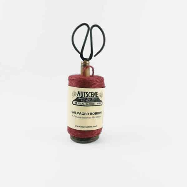 nutscene Recycled Mill Bobbin with Twine and Scissors Red
