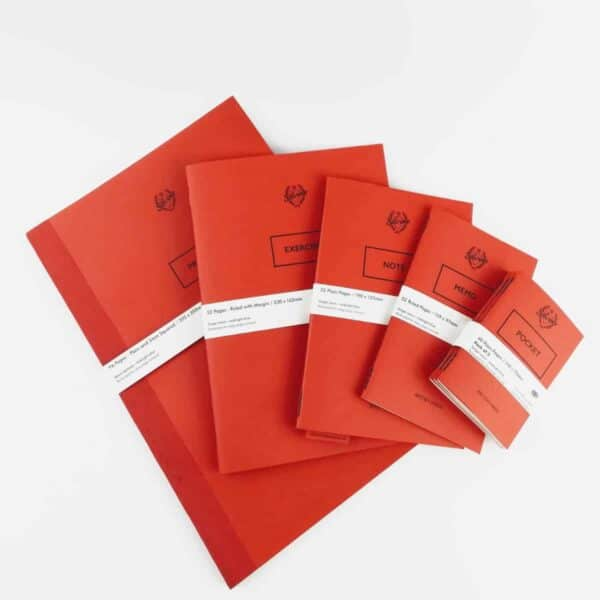 silvine originals collection of 5 different sizes of red notebooks