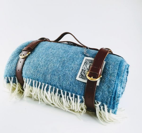 Tolly mcrae Cornish Blue Blanket rolled up with leather strap