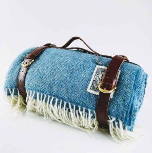 Cornish blue picnic blanket tolly mcrae sky blue wool picnic rug