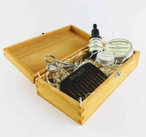 bedfordshire beard co beard care set in open wooden presentation box