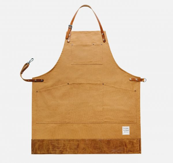 trade brown canvas apron with leather trim
