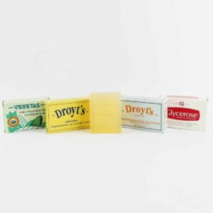 set of Droyt's soap consisting of vegetas, droyt's original, droyt's glycerine shaving soap. droyt's eau de cologne soap and glycerose soap