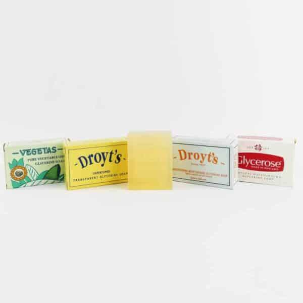 set of Droyt's soap consisting of vegetas, droyt's original, droyt's glycerine shaving soap. droyt's eau de cologne soap and glycerose soap