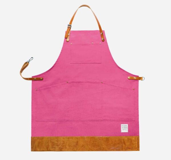 Pink canvas apron with leather trim