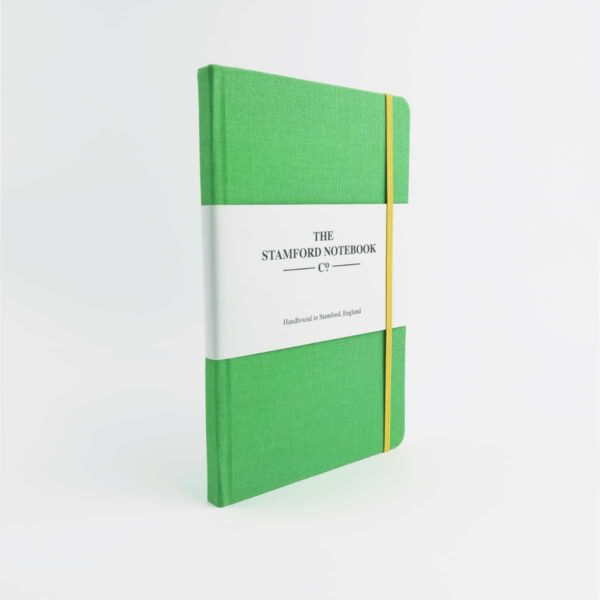 stamford apple green notebook with yellow strap