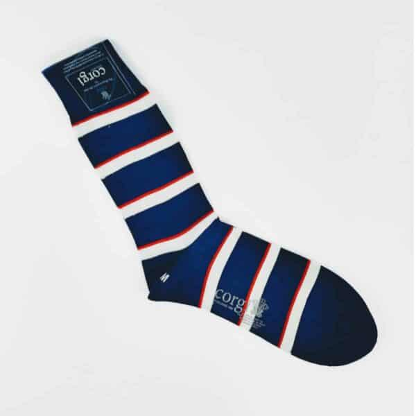 Corgi Army Air Corps socks blue, white and red stripes