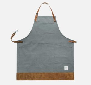 grey canvas apron with leather trim