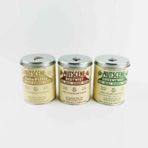 nutscene Iconic Tins of Jute Twine in red, natural and green