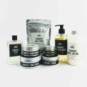 set of Farmers' skincare products, hand cream, foot cream, body wash, lip balm, body scrub, bath salts and eau de toilette