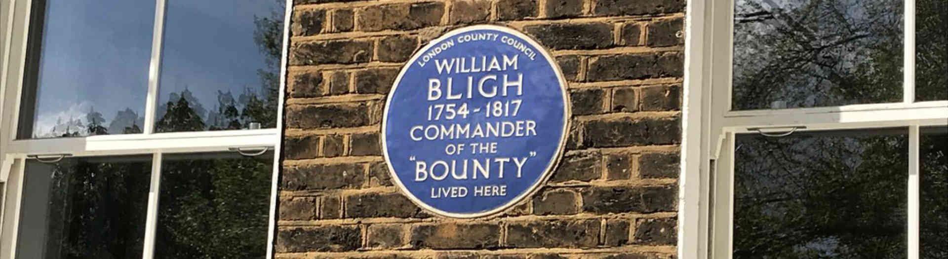 London Blue plaque of captain bligh on wall
