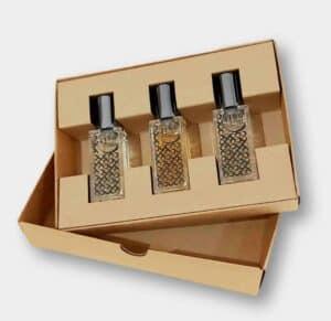 British made perfume, artisan niche perfume 4160 Tuesdays trio small tester bottle of perfume on presentation box