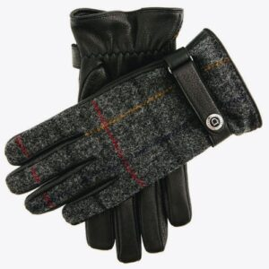 Black and Charcoal Tweed Gloves