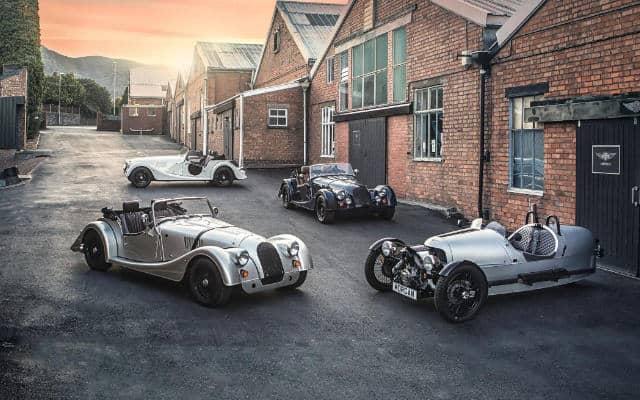 morgan cars outside factory