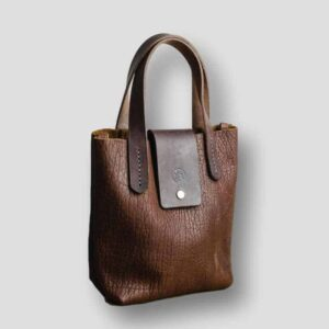 Heather borg Bison Leather handbag, British made leather hand bag