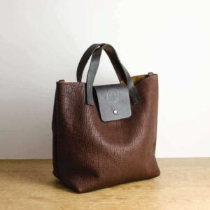 Brown Bison Leather Tote Bag