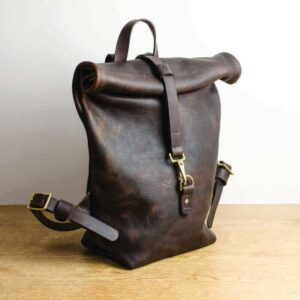 Kodiak Leather Roll Top Backpack