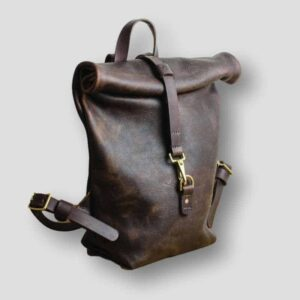 Heather borg Kodiak Leather roll top backpack, roll top leather handmade backpack, british made backsack made in manchester
