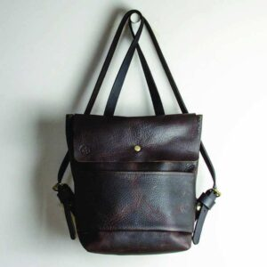 Heather borg Kodiak brown Leather flap over backpack, small leather backpack, handmade leather rucksack