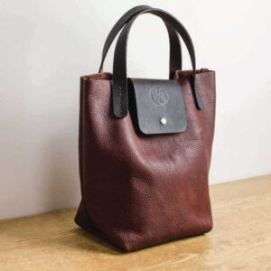 Raisin Bison Leather Tote Bag