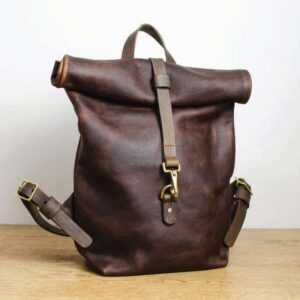 Kodiak Tan Leather Roll Top Backpack