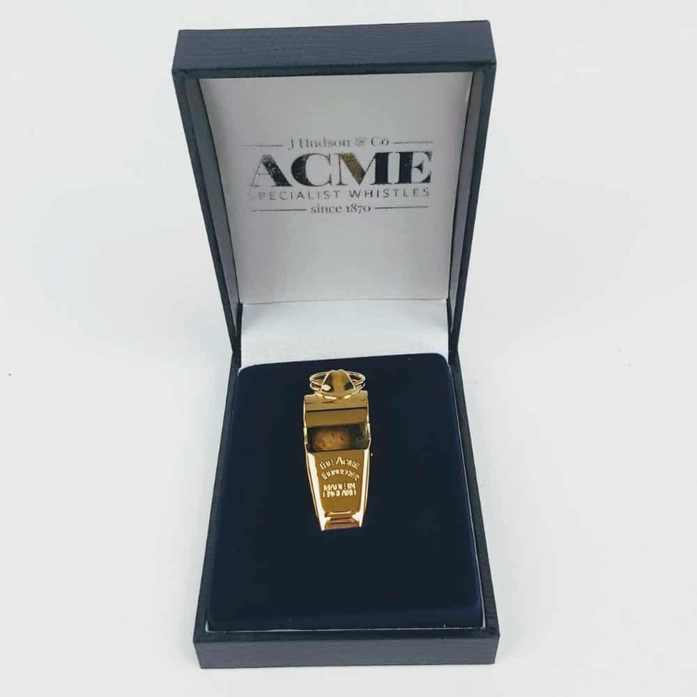 ACME whistles gold plated thunderer whistle, acme whistle thundere whistle presentation box in gold