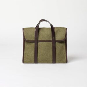 cherchbi barrett flap with leather straps made in UK from wool