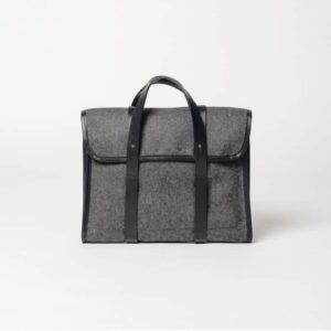 Cherchbi small wool briefcase with leather straps