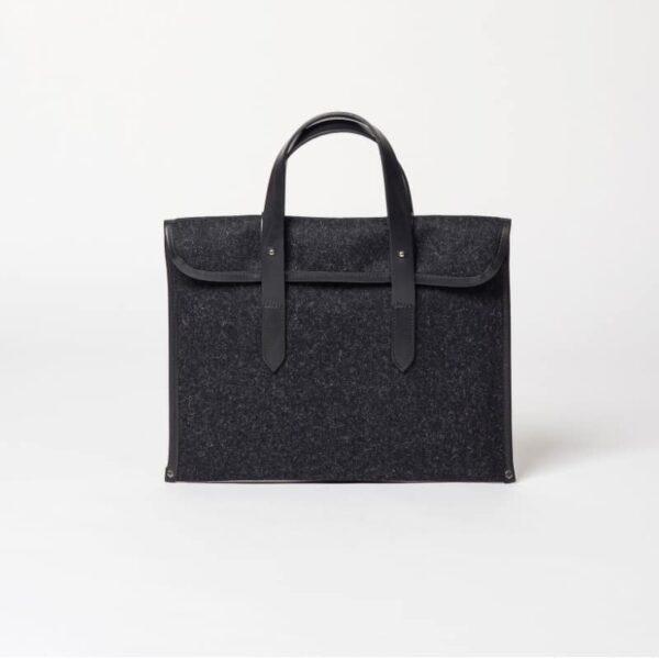 cherchbi barret sleeve woollen bag handmade in Uk with leather starps