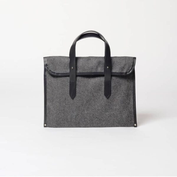 cherchbi barret sleeve british made wool carry bag with leather straps