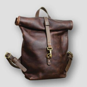 Heather Borg KODIAK TAN LEATHER ROLL TOP BACKPACK, handmade leather rucksack, luxury leather backpack