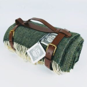 Tolly McRae British Racing Green Chunky wool Blanket rolled up