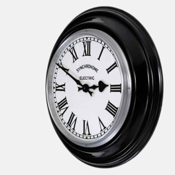 roman numeral black factory clock from synchronome clocks
