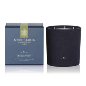 Charles Farris scented candle british expedition 3 wick scented candle, luxury scented candle, queen's candle maker