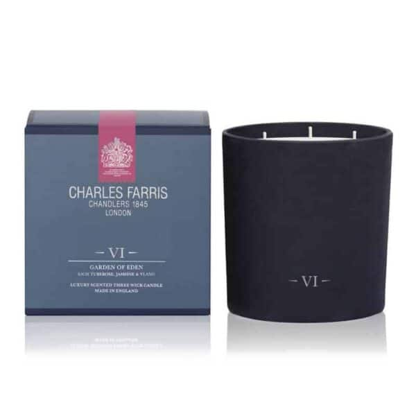 luxury scented candle Charles Farris garden of eden 3 wick large scented luxury scented candle, british made long lasting candle