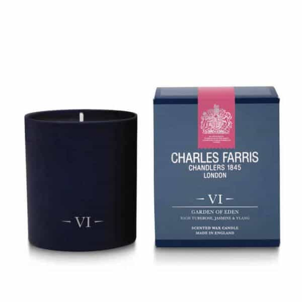 Charles Farris garden of eden scented candle, luxury candle, fragranced luxury candle