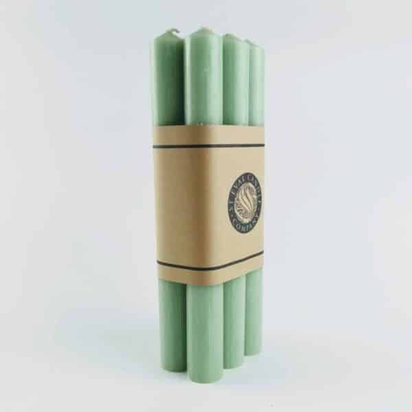 St Eval light green Dinner Candles, 6 Pack Atlantic green candles, hand drawn dinner candles made in cornwall by st eval candles