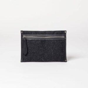 cherchbi small wool pouch black wool made in UK bag