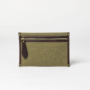 cherchbi small khaki wool pouch made in UK for tablet pouch