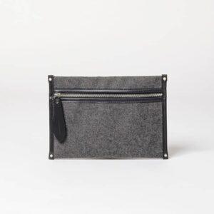 Cherchbi smal grey wool pouch made in UK
